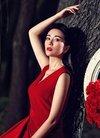 美女明星刘庭羽红裙性感写真ipad壁纸