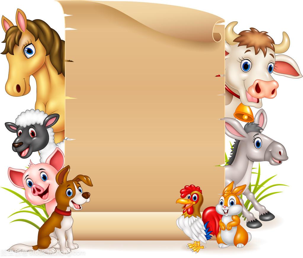 卡通搞笑农场动物与空白符号